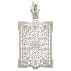 Art Deco 14K Gold and Diamond Camphor Glass Filigree Pendant