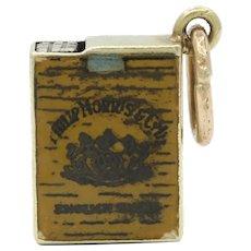 Vintage 14K Gold Enamel Cigarette Box Charm Pendant