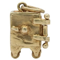 Vintage 14K Yellow Gold Safe Charm Pendant