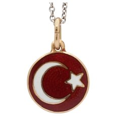 14K Gold and Enamel Crescent Moon and Star Charm Pendant