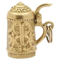 Vintage Beer Stein 18K Gold Articulated Charm Pendant