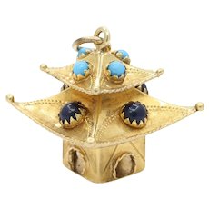Vintage 18K Gold Turquoise and Blue Stones Pagoda Temple Charm Pendant