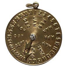 Vintage 14K Gold and Diamond Date Charm for August 18 Birthday Anniversary