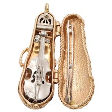 Vintage 14K Gold Articulated Violin Viola in Case Charm Heavy Pendant