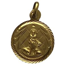 18K Gold Religious Charm Saint Lazarus with Two Dogs Pendant