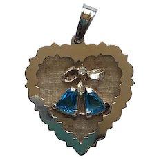 Vintage 14K Gold Blue Stone Wedding Bells Anniversary Charm Pendant