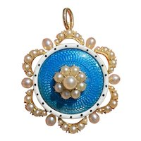 Edwardian Blue and White Enamel and Natural Pearl 14K Gold Pin Pendant