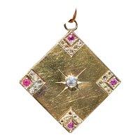 Edwardian 18K Gold Diamond and Ruby Square-Shaped Pendant Charm