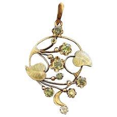 Russian Art Nouveau Demantoid Garnet and Diamond Enamel 14K Gold Foliate Pendant