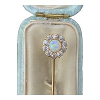 Edwardian Tiffany & Co Opal and 1 Carat Diamond 14K Gold Stick Pin