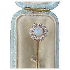 Edwardian Tiffany & Co Opal and 1 Carat Diamond 14K Gold Stick Pin