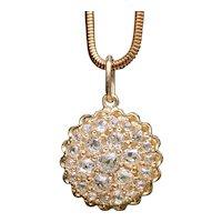 Victorian 18K Gold and 2.1 Carat Diamond Cluster Pendant