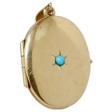 Victorian 14K Gold and Turquoise Star Set Locket Pendant