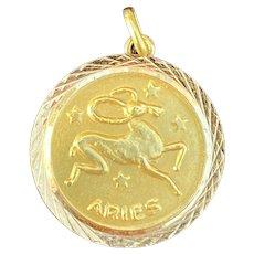 Vintage 18K Gold Aries Zodiac Industria Argentina Charm Pendant