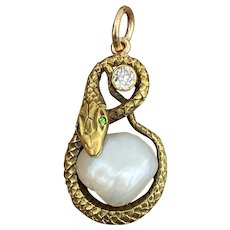 Victorian 18K Gold, Diamond, Demantoid Garnet and Pearl Snake Pendant, Charm