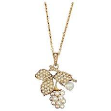 Art Nouveau 14K Gold and Pearl Grape Pendant, Necklace