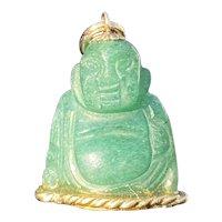Vintage 14K Gold and Carved Aventurine Buddha Charm, Pendant