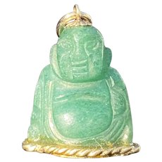 Vintage 14K Gold and Carved Aventurine Buddha Charm, Pendant