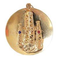 """Large Vintage 14K Gold Dimensional Oil Rig Charm, 1.5"""" Pendant Medallion"""