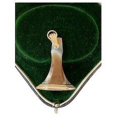 "Antique 10K Gold Banded Agate ""RE"" Monogram Fob Pendant, Intaglio Seal"