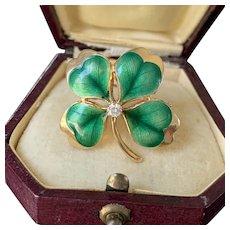 Vintage 14K Gold and Diamond Enamel Shamrock Four Leaf Clover Pendant, Pin