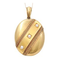 Large Victorian 18K Gold and Split Pearl Locket, Antique Pendant