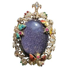 Large Victorian 14K Gold Goldstone, 2.5 Carat Diamond, Enamel Butterfly Flower Pendant, Antique Brooch