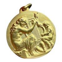 Vintage 18K Gold Large Medallion of Harpist with Children, Italian Charm Pendant