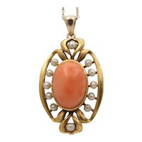 Art Nouveau 14K Gold Angel Skin Coral and Pearl Pendant, Antique Charm Conversion