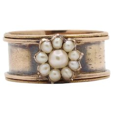 Victorian 14K Gold Seed Pearl Flower Ring Band