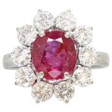 GIA Burma No Heat Ruby and Diamond Halo 18K Gold Ring