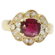 Vintage Natural Ruby and Diamond 14K Gold Cocktail Cluster Alternative Engagement Ring
