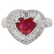 GIA Certified Burma Ruby and Diamond Heart Shaped 18K Gold Romantic Ring
