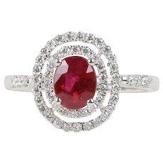 GIA Pigeon Blood 1.05 Carat Burma Ruby and Diamond Halo 18K Gold Ring