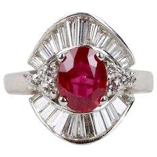 GIA Certified 1.85 Carat Burma Ruby and 1.5 Carat Diamond 18K Gold Ring