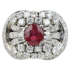 Large 1.5 Carat Ruby and 3 Carat Diamond and Platinum Cluster Statement Ring