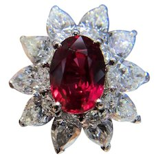 GIA Vivid 3 Carat Ruby and 3.5 Carat Diamond 18K Gold Platinum Cocktail Ring