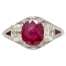 Art Deco AGL Certified Burma Ruby and Diamond 18K Gold Alternative Engagement Ring
