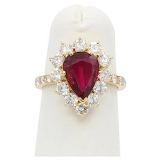 AGL Certified 1.98 Carat Ruby and 1.5 Carat Diamond Halo 18K Gold Ring