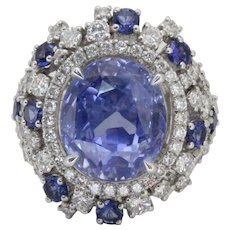 Vintage GIA 12.63 Carats Ceylon Unheated Sapphire and Diamond Cluster Platinum Cocktail Ring