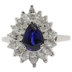 GIA Certified 1.25 Carat No Heat Sapphire and Diamond Platinum 1950s Ring