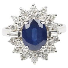 Vintage 2.5 Carat Natural Sapphire and 1.2 Carats Diamond Cluster 14K Gold Cocktail Ring