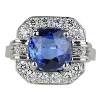 French GIA 3 Carat Sapphire and 1 Carat Diamond 18K Gold Alternative Engagement Ring