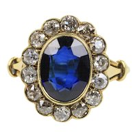 Antique Synthetic Sapphire Old Mine Cut Diamond Halo 18K Gold Alternative Engagement Ring