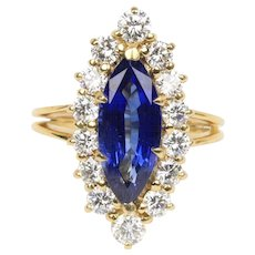 GIA Certified Marquise Sapphire Diamond Halo 18K Gold Alternative Engagement Ring