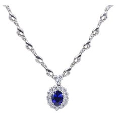 Elegant GIA Certified Natural Sapphire and Diamond Halo 18K White Gold Necklace