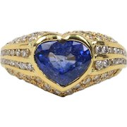 Vintage 1980s Heart Shaped 3 Carat Sapphire and 3.5 Carat Diamond 18K Gold Ring