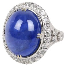 27 Carat Cabochon Sapphire 1.6 Carat Diamond 18K Gold Cocktail Statement Ring
