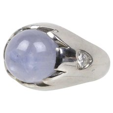 GIA Certified 18 Carat Star Sapphire and Diamond 14K Gold Ring