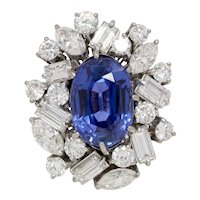 Rare 7.8 Carat GIA Certified No Heat Color Change Sapphire and Diamond 14K Gold Cocktail Ring